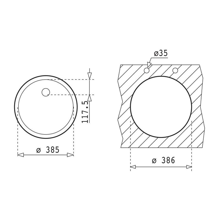 Teka BE 039 1B Round Undermount Sink - Stainless Steel Additional Image 1