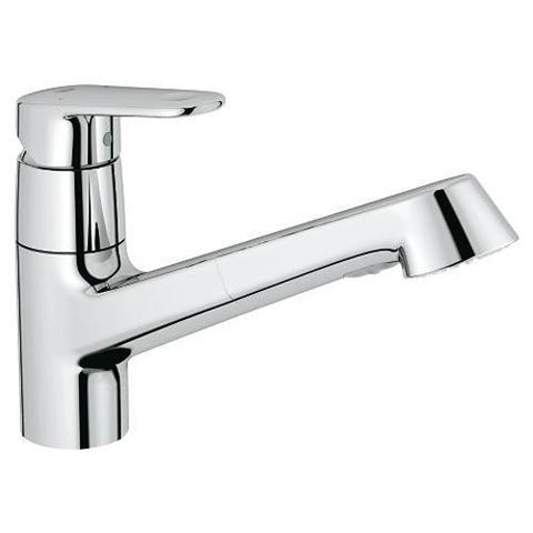 Grohe Europlus 1/2 Inch Single Lever Sink Mixer Swivel Spout with Pull Out Hand Shower - Unbeatable Bathrooms