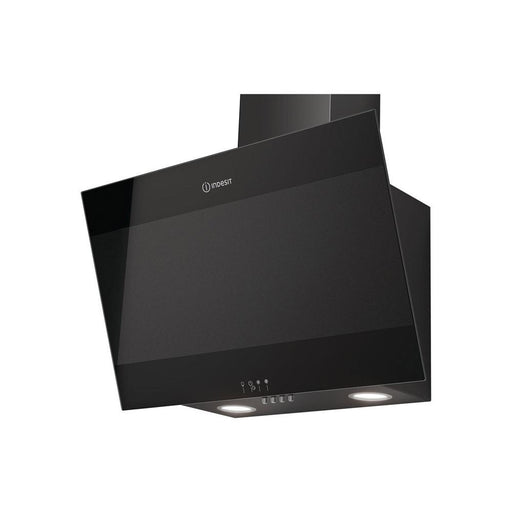 Indesit IHVP 6.6 LM K 60cm Angled Chimney Hood - Black Glass