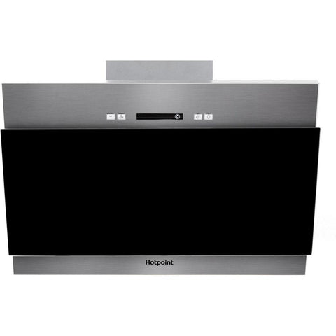 Hotpoint PHVP 6.4F AL K/1 60cm Angled Chimney Hood - Black Glass