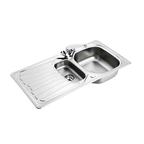Armitage Shanks Sandringham Select Sink Pack, Inset Stainless Steel 1.5 Bowl and Drainer Complete with Sandringham Dual Control Sink 1 Taphole Mixer, -1/2inch Basket Strainer Waste - Unbeatable Bathrooms
