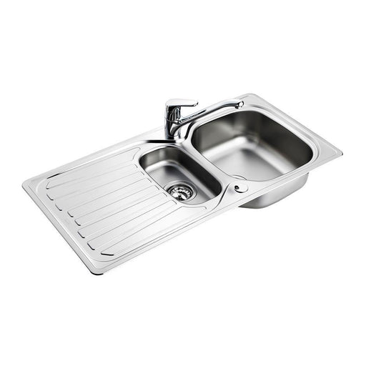 Armitage Shanks Sandringham Select Sink Pack, Inset Stainless Steel 1.5 Bowl and Drainer Complete with Sandringham Single Lever Sink 1 Taphole Mixer, -1/2inch Basket Strainer Waste - Unbeatable Bathrooms
