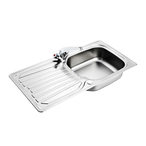 Armitage Shanks Sandringham Select Sink Pack, Inset Stainless Steel Single Bowl and Drainer Complete with Sandringham Dual Control Sink 1 Taphole Mixer, 1-1/2inch Basket Strainer Waste - Unbeatable Bathrooms