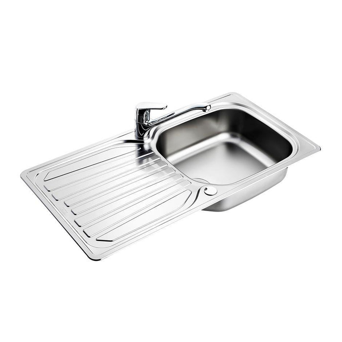 Armitage Shanks Sandringham Select Sink Pack, Inset Stainless Steel Single Bowl and Drainer Complete with Sandringham Single Lever 1 Taphole Mixer, 1-1/2inch Basket Strainer Waste - Unbeatable Bathrooms