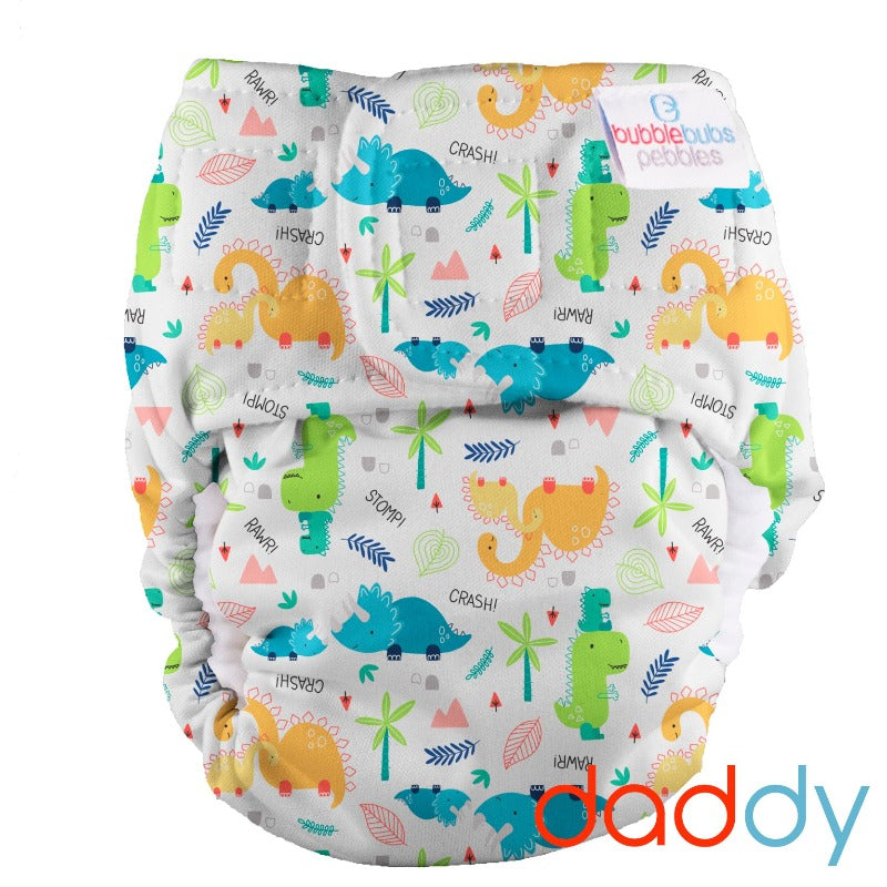 "Pebbles Newborn All-in-One Nappy (2kg-5.5kg) ""Daddy Dinosaur"" Minky"
