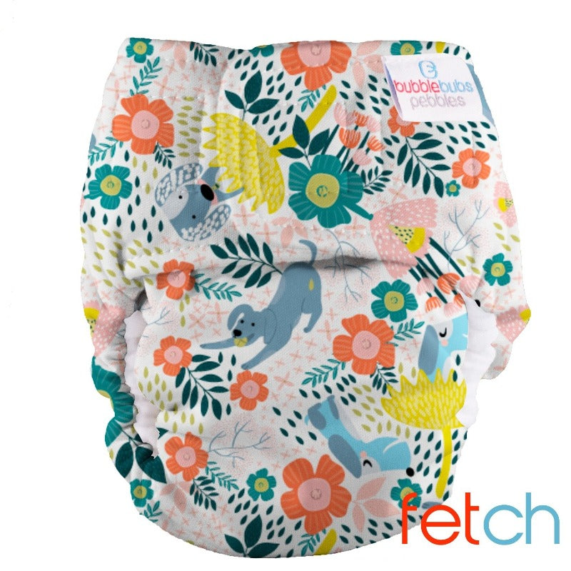 "Pebbles Newborn All-in-One Nappy (2kg-5.5kg) ""Fetch"" Minky"