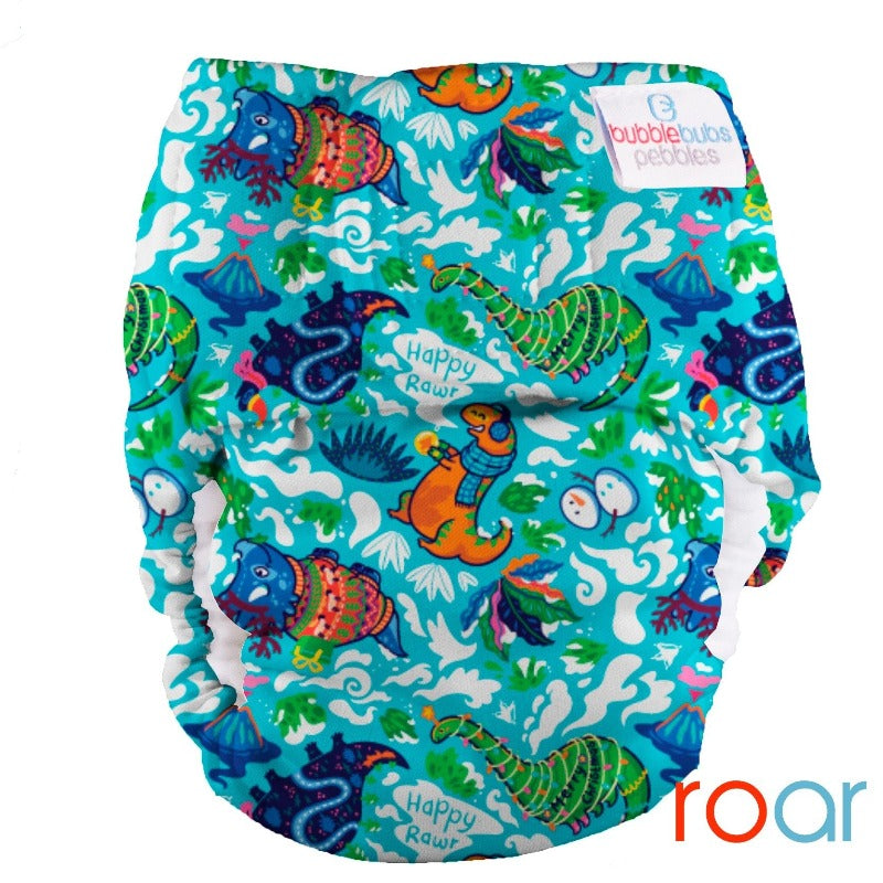 "Pebbles Newborn All-in-One Nappy (2kg-5.5kg) ""Roar Christmas"" PUL"