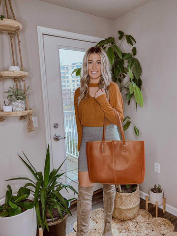 classy leather tote