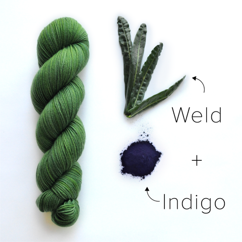 green yarn dyed with weld and indigo
