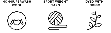 non-superwash wool icon of sheep, sport weight yarn icon of yarn ball, dyed with indigo icon of leaves