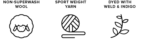 non-superwash wool icon of sheep, sport weight yarn icon of yarn ball, dyed with indigo & weld icon of leaves