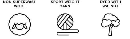 non-superwash wool icon of sheep, sport weight yarn icon of yarn ball, dyed with walnut icon of tree