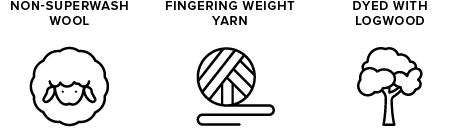 non-superwash wool icon of sheep, fingering weight yarn icon of yarn ball, dyed with logwood icon of tree