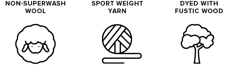 non-superwash wool icon of sheep, sport weight yarn icon of yarn ball, dyed with fustic wood icon of a tree