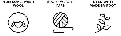 non-superwash wool icon of sheep, sport weight yarn icon of yarn ball, dyed with madder root icon of leaves