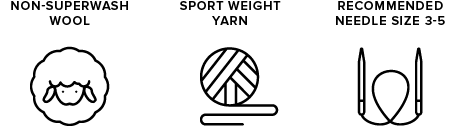 non-superwash wool icon of sheep, sport weight yarn icon of yarn ball, recommended needle size 3-5 icon of knitting needles