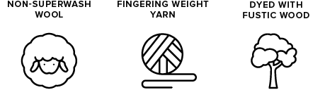 non-superwash wool icon of sheep, fingering weight yarn icon of yarn ball, dyed with fustic wood icon of tree