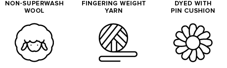 non-superwash wool icon of sheep, fingering weight yarn icon of yarn ball, dyed with pin cushion icon of a flower