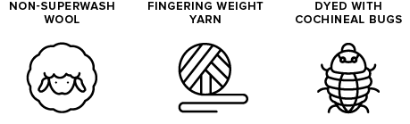 non-superwash wool icon of sheep, fingering weight yarn icon of yarn ball, dyed with cochineal icon of bugs