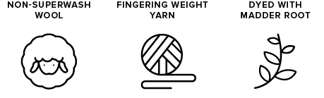 non-superwash wool icon of sheep, fingering weight yarn icon of yarn ball, dyed with madder root icon of leaves