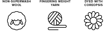 non-superwash wool icon of sheep, fingering weight yarn icon of yarn ball, dyed with coreopsis icon of a flower