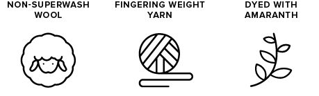 non-superwash wool icon of sheep, fingering weight yarn icon of yarn ball, dyed with amaranth icon of leaves