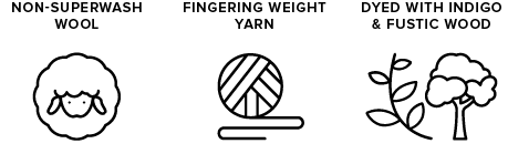 non-superwash wool icon of sheep, fingering weight yarn icon of yarn ball, dyed with indigo and fustic wood icon of leaves & a tree