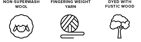 non-superwash wool icon of sheep, fingering weight yarn icon of yarn ball, dyed with fustic wood icon of a tree