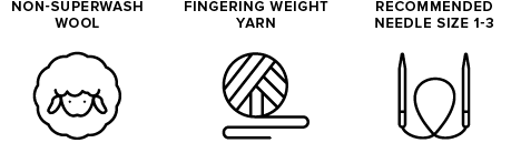 non-superwash wool icon of sheep, fingering weight yarn icon of yarn ball, recommended needle size 1-3 icon of knitting needles