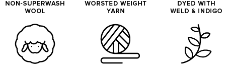 non-superwash wool icon of sheep, worsted weight yarn icon of yarn ball, dyed with indigo & weld icon of leaves