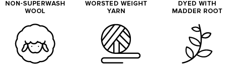 non-superwash wool icon of sheep, worsted weight yarn icon of yarn ball, dyed with madder root icon of leaves
