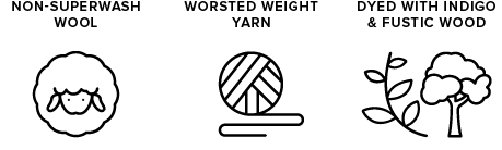 non-superwash wool icon of sheep, worsted weight yarn icon of yarn ball, dyed with indigo & fustic wood icon of leaves & a tree