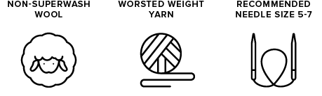 non-superwash wool icon of sheep, worsted weight yarn icon of yarn ball, recommended needle size 5-7 icon of knitting needles