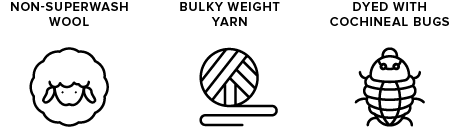 non-superwash wool icon of sheep, bulky weight yarn icon of yarn ball, dyed with cochineal icon of a bug