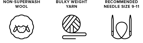 non-superwash wool icon of sheep, bulky weight yarn icon of yarn ball, recommended needle size 9-11 icon of knitting needles