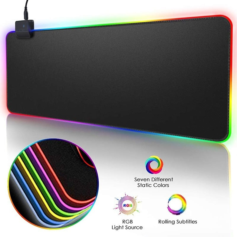 RGB Glowing LED Gaming Mouse Pad