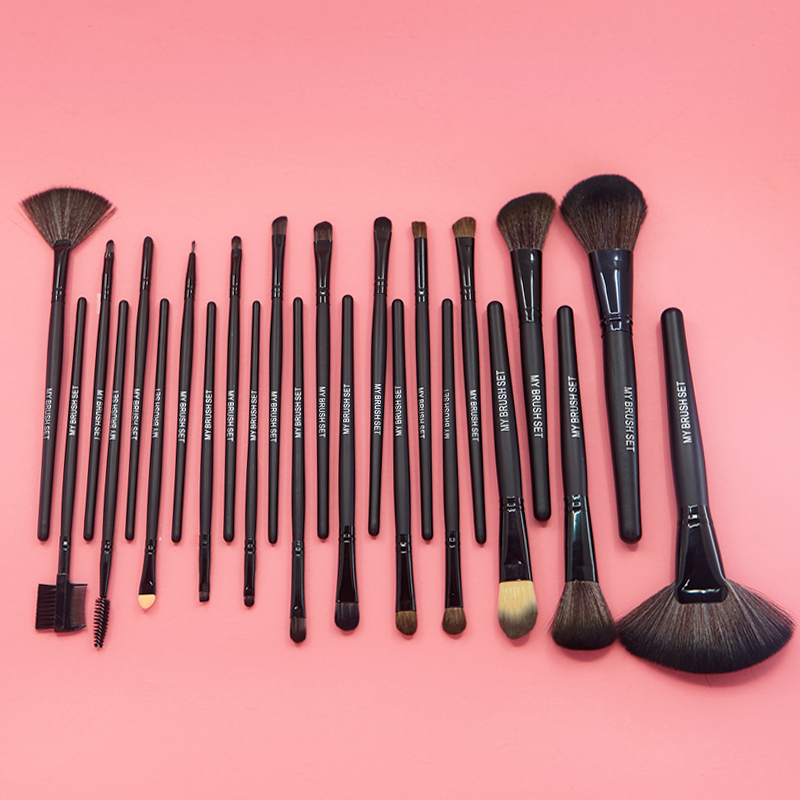 Jet Black Make Up Brush Set with Free Case
