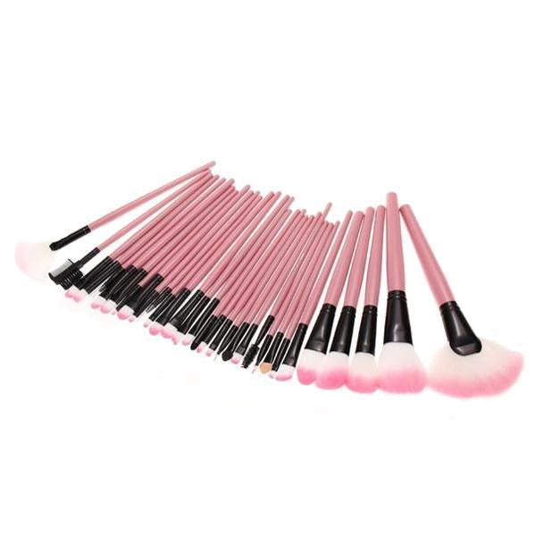 32 Piece Professional Pink Makeup Brush Set