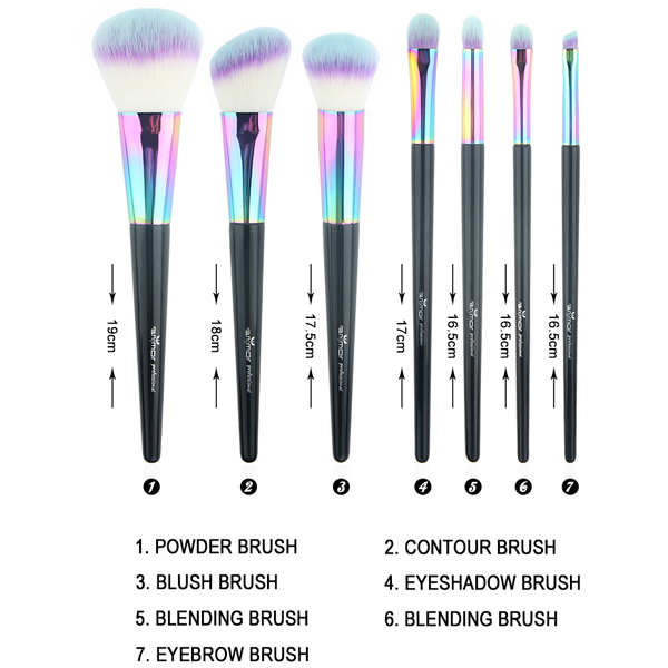 Black Mermaid Rainbow Feather Mermaid Brush Set