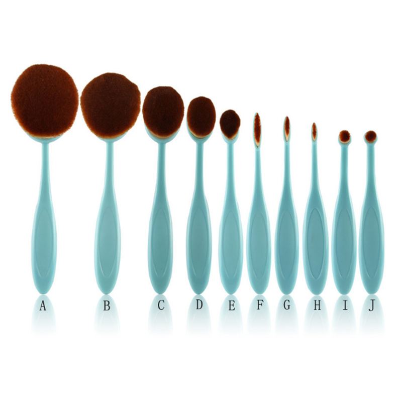 10 Piece Baby Blue Oval Brush Set ,  - My Make-Up Brush Set - US, My Make-Up Brush Set  - 4