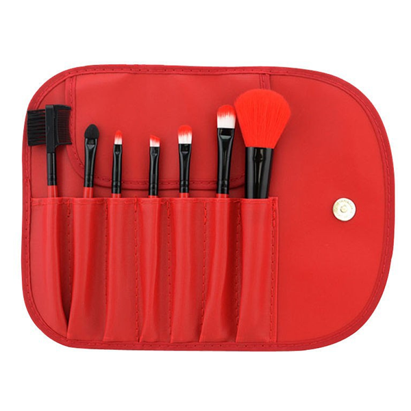 7 Piece Classic Brush Set Red, Make Up Brush - MyBrushSet, My Make-Up Brush Set  - 1