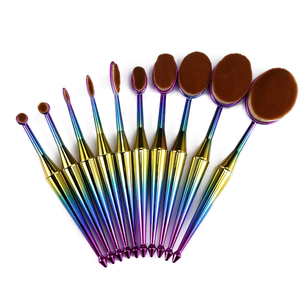 10 Piece Mermaid Oval Brush Set
