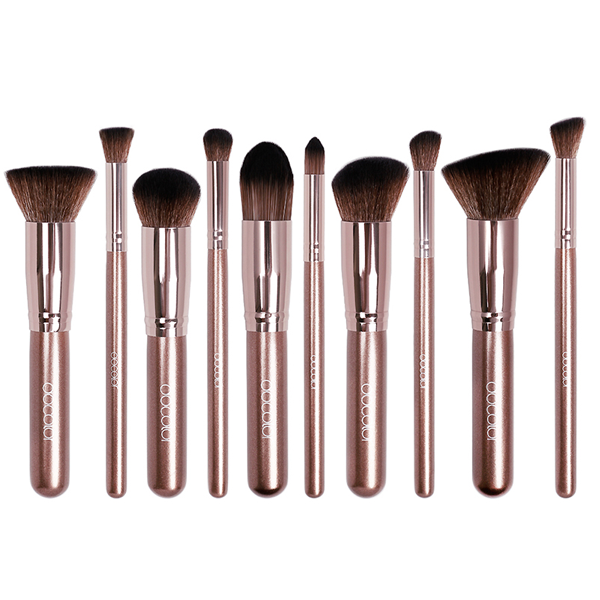 10 Piece Coffee Color Makeup Brush Set