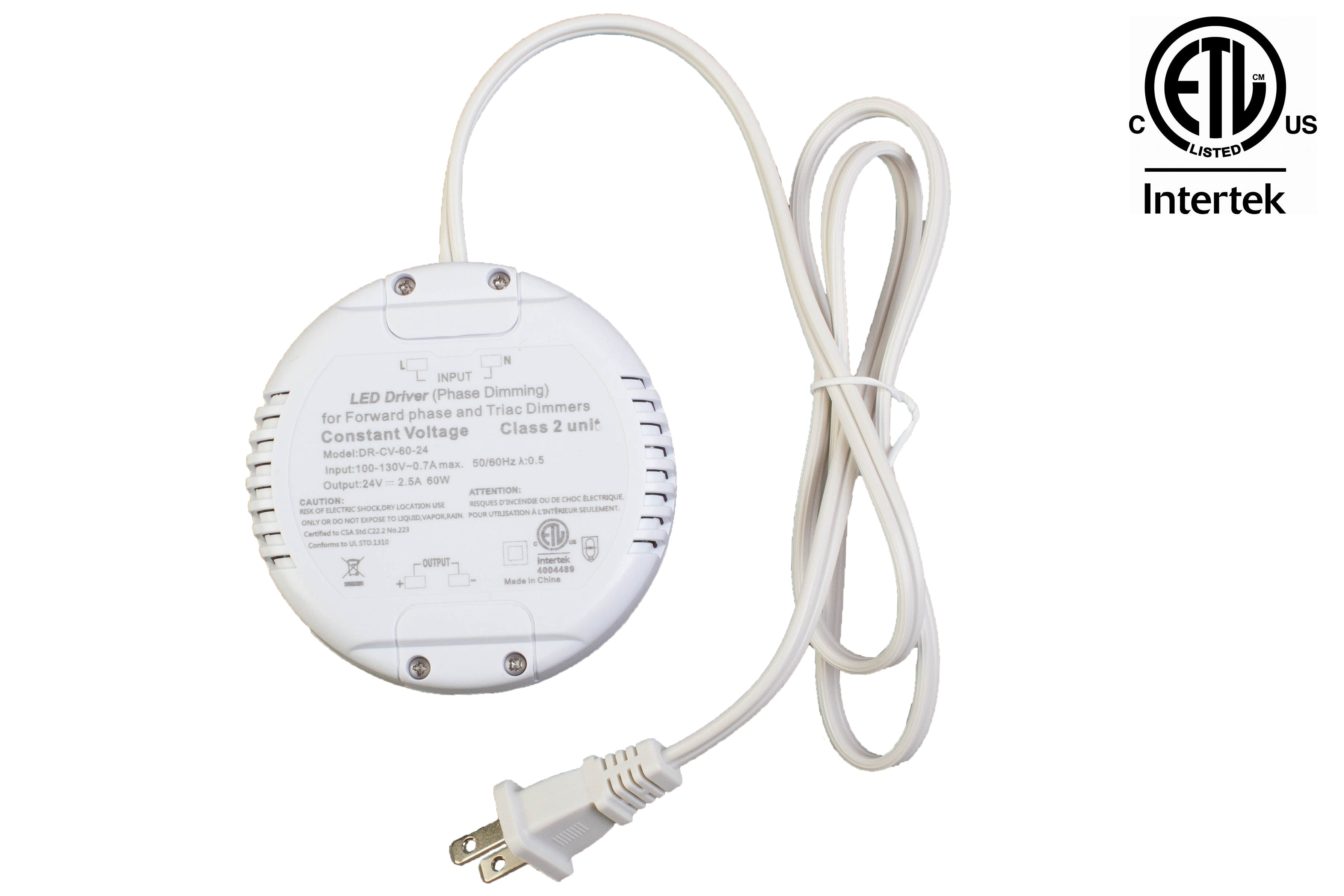 ETL Listed 24V 60w Class 2 Triac Dimmable Round Shape Power Supply