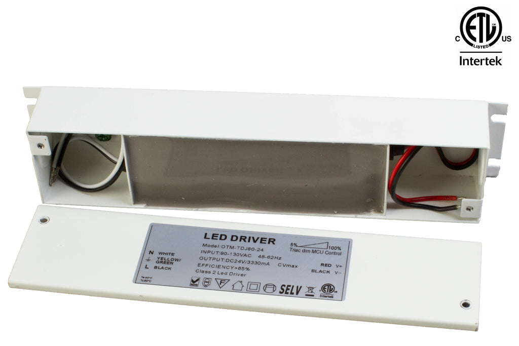 ETL listed 24v 3.3 Amp 80w Dimmable Power supply Driver with junction box built-in