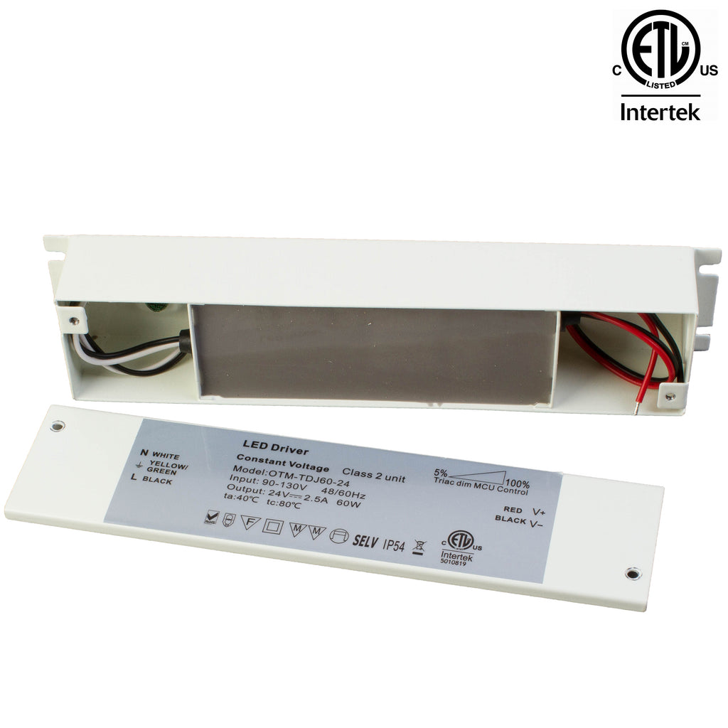 ETL Listed 24V 60w Class 2 Triac Dimmable Power Supply with Junction box built-in