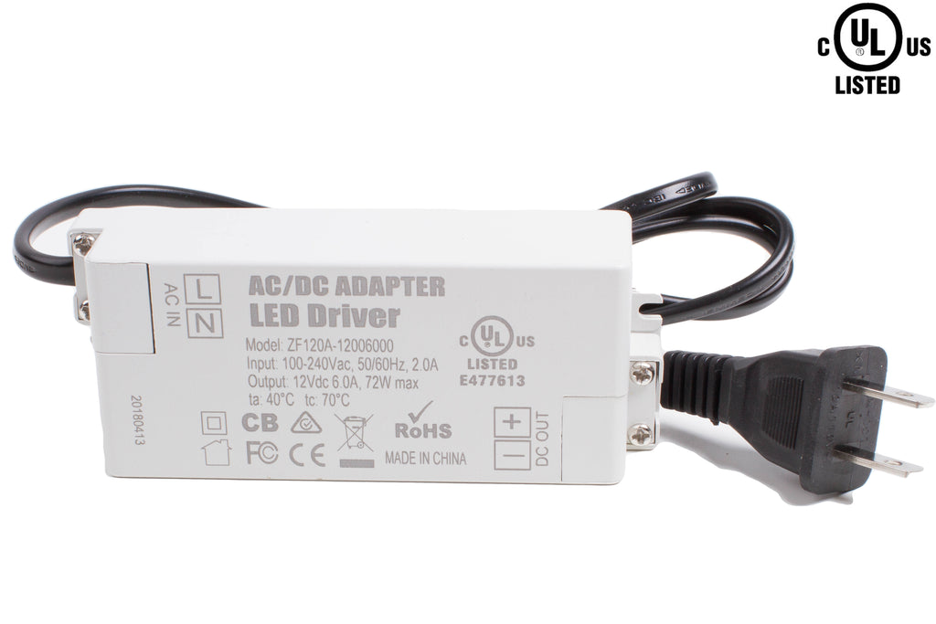 UL Listed 12V 6A 72w Terminal connection Low Profile Power Supply
