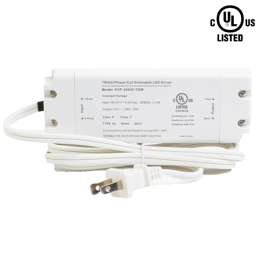UL Listed 24V 1.25A 30w Class 2 Triac Dimmable Power Supply Driver