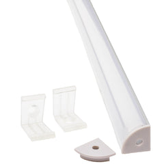 V Shape Aluminum channel with cover and mounting clips for LED Strip light fit 6mm to 10mm