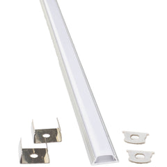 U Aluminum channel with cover and mounting clips for LED Strip light fit 6mm to 10mm